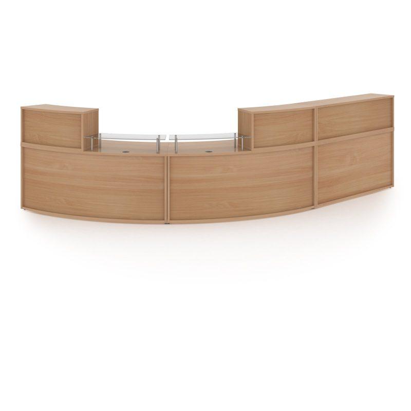 Denver extra large curved complete reception unit - beech - Furniture