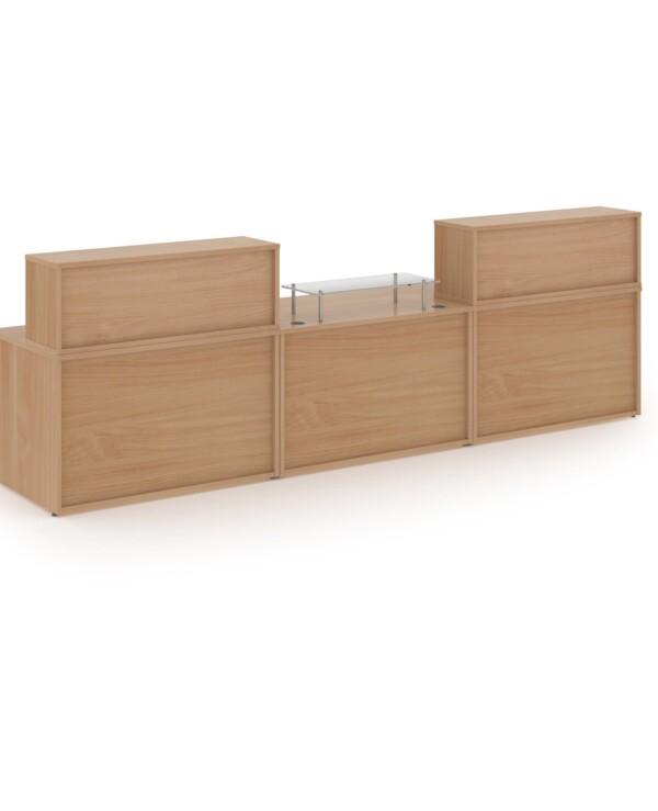 Denver large straight complete reception unit - beech - Furniture