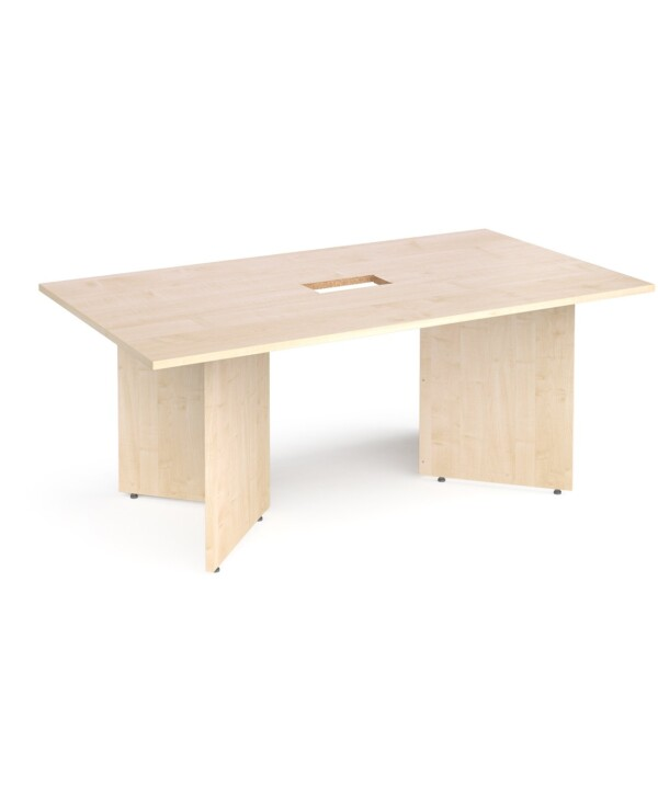 Arrow head leg rectangular boardroom table 1800mm x 1000mm with central cutout 272mm x 132mm - maple - Furniture