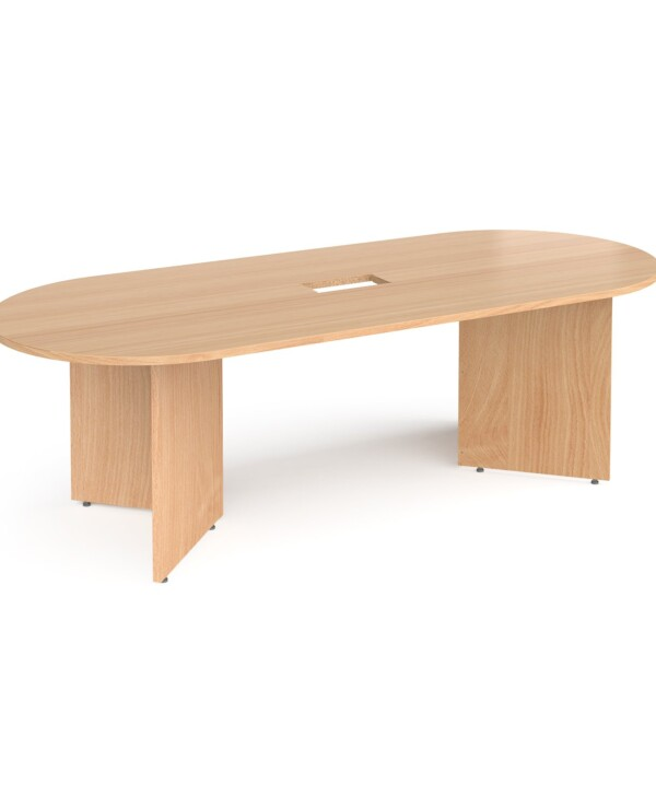Arrow head leg radial end boardroom table 2400mm x 1000mm with central cutout 272mm x 132mm - beech - Furniture