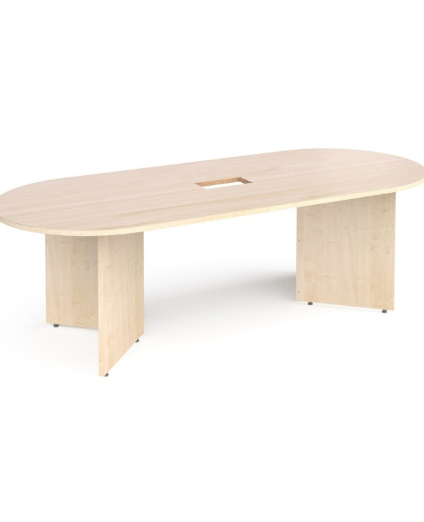 Arrow head leg radial end boardroom table 2400mm x 1000mm with central cutout 272mm x 132mm - maple - Furniture