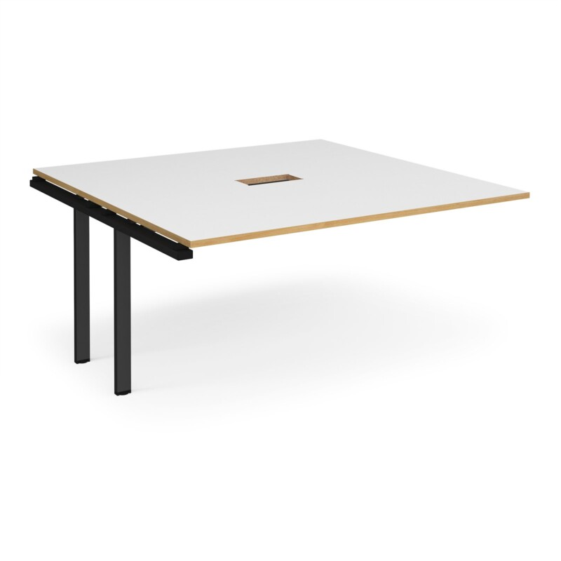 Adapt boardroom table add on unit 1600mm x 1600mm with central cutout 272mm x 132mm - black frame, white with oak edge top...