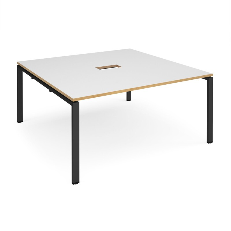 Adapt square boardroom table 1600mm x 1600mm with central cutout 272mm x 132mm - black frame, white with oak edge top - Fu...
