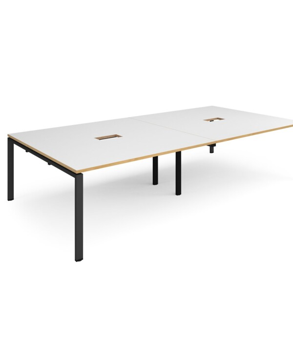 Adapt rectangular boardroom table 3200mm x 1600mm with 2 cutouts 272mm x 132mm - black frame, white with oak edge top - Fu...