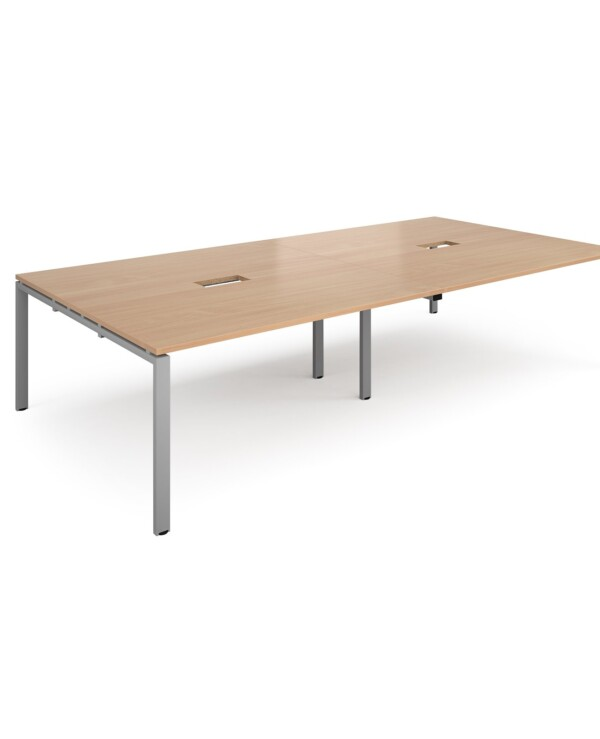Adapt rectangular boardroom table 3200mm x 1600mm with 2 cutouts 272mm x 132mm - black frame, beech top - Furniture