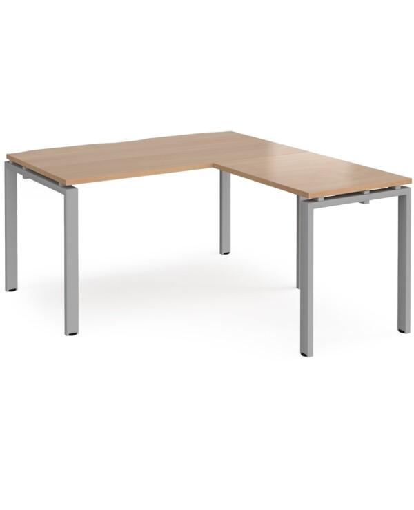 Adapt desk 1400mm x 800mm with 800mm return desk - black frame, beech top - Furniture