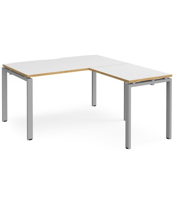 Adapt desk 1400mm x 800mm with 800mm return desk - black frame, white top with oak edge - Furniture