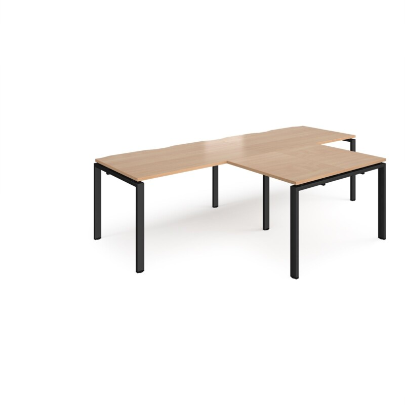 Adapt double straight desks 2800mm x 800mm with 800mm return desks - black frame, beech top - Furniture