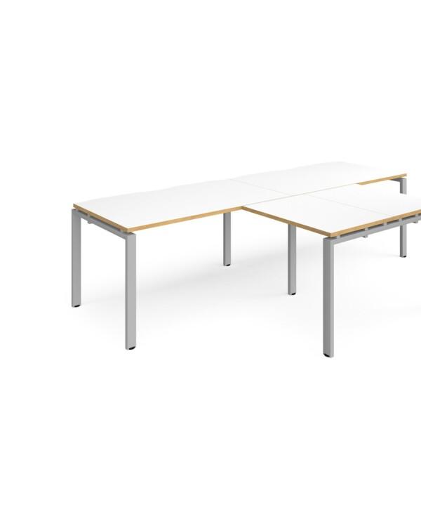 Adapt double straight desks 2800mm x 800mm with 800mm return desks - black frame, white top with oak edge - Furniture