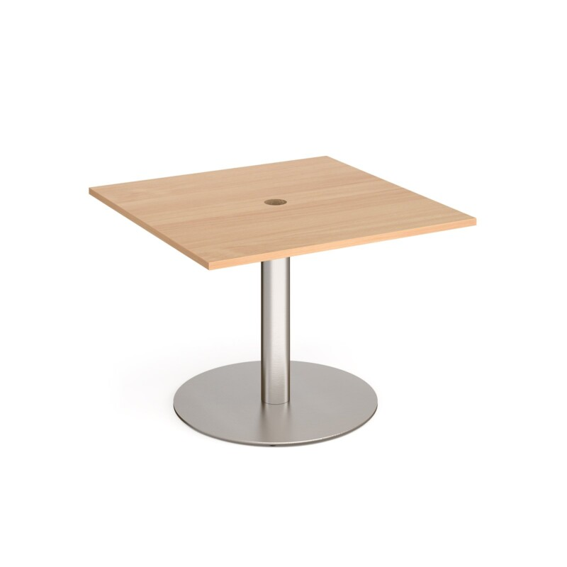 Eternal square meeting table 1000mm x 1000mm with central circular cutout 80mm - brushed steel base, beech top - Furniture