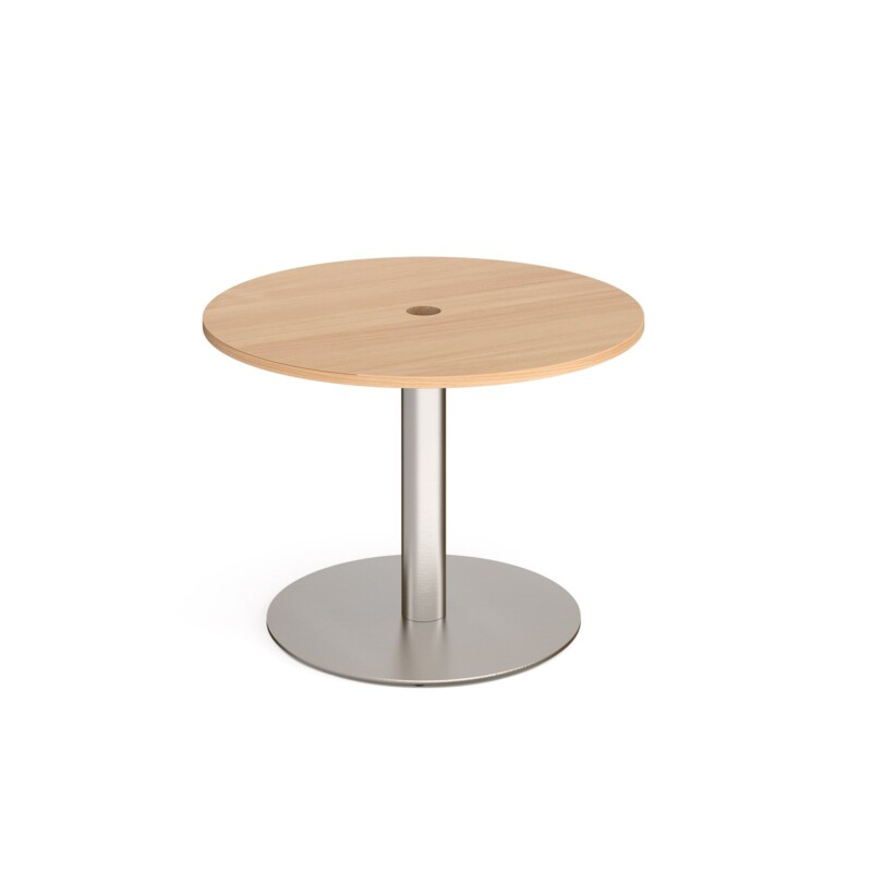 Eternal circular meeting table 1000mm with central circular cutout 80mm - brushed steel base, beech top - Furniture