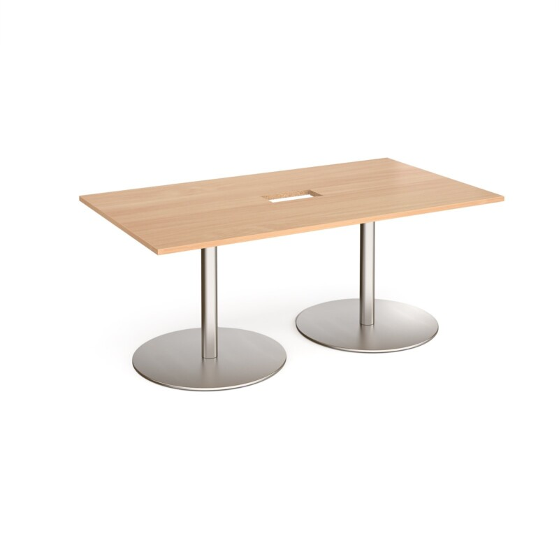 Eternal rectangular boardroom table 1800mm x 1000mm with central cutout 272mm x 132mm - brushed steel base, beech top - Fu...