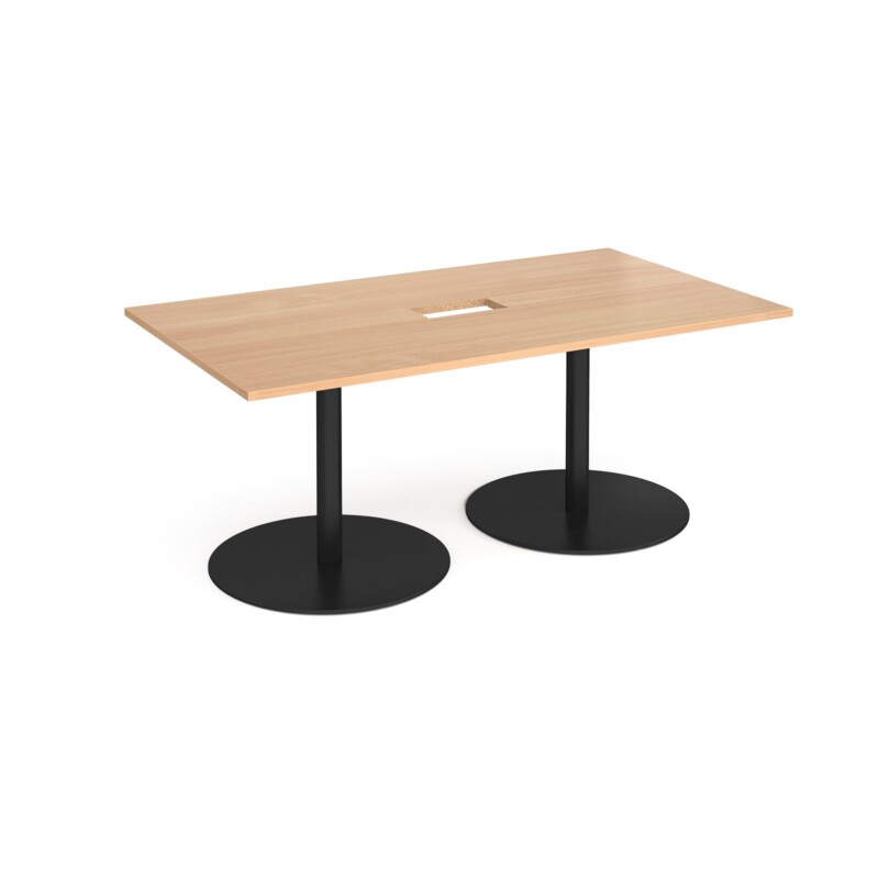 Eternal rectangular boardroom table 1800mm x 1000mm with central cutout 272mm x 132mm - black base, beech top - Furniture