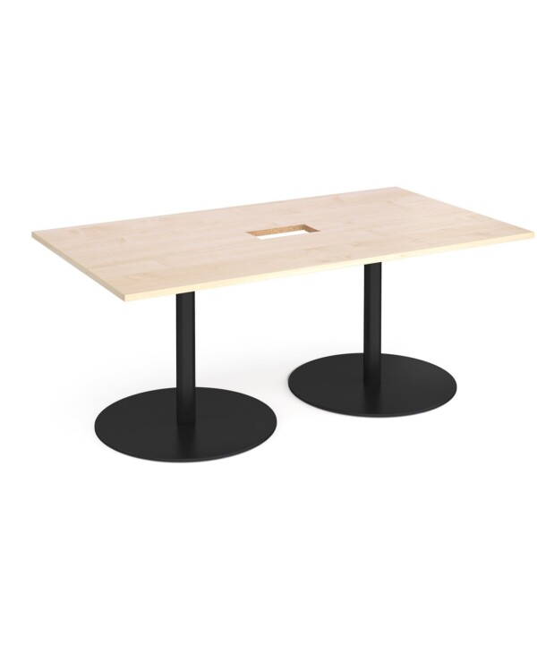 Eternal rectangular boardroom table 1800mm x 1000mm with central cutout 272mm x 132mm - black base, maple top - Furniture