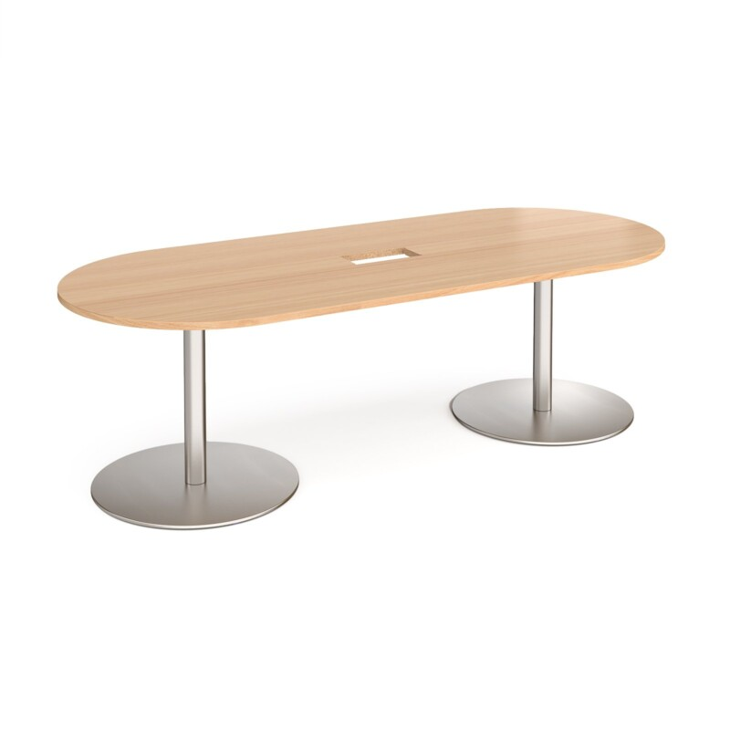 Eternal radial end boardroom table 2400mm x 1000mm with central cutout 272mm x 132mm - brushed steel base, beech top - Fur...