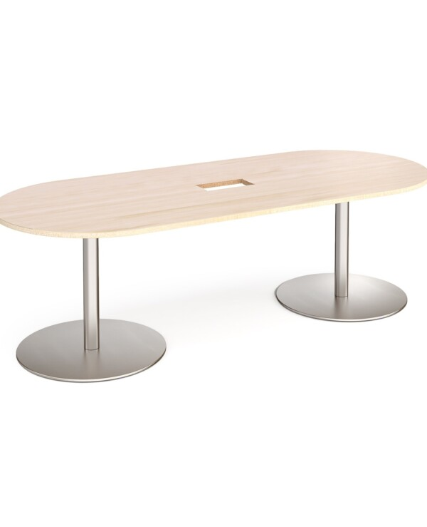 Eternal radial end boardroom table 2400mm x 1000mm with central cutout 272mm x 132mm - brushed steel base, maple top - Fur...