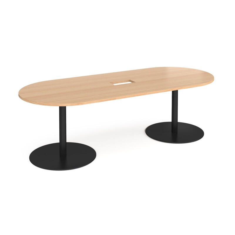 Eternal radial end boardroom table 2400mm x 1000mm with central cutout 272mm x 132mm - black base, beech top - Furniture