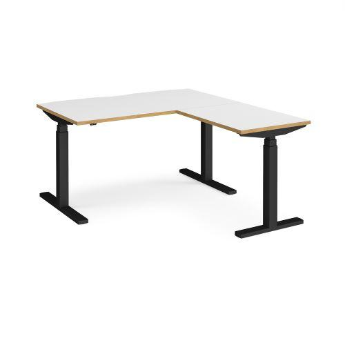 Elev8 Touch sit-stand desk 1400mm x 800mm with 800mm return desk - black frame, white top with oak edge - Furniture