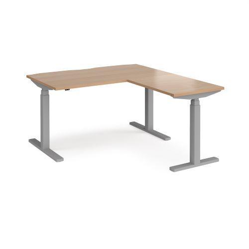 Elev8 Touch sit-stand desk 1400mm x 800mm with 800mm return desk - black frame, beech top - Furniture