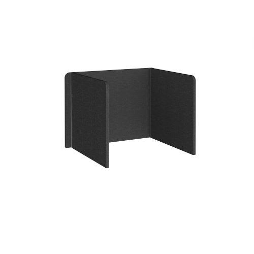 Free-standing 3-sided 700mm high fabric desktop screen 1000mm wide - charcoal - Furniture