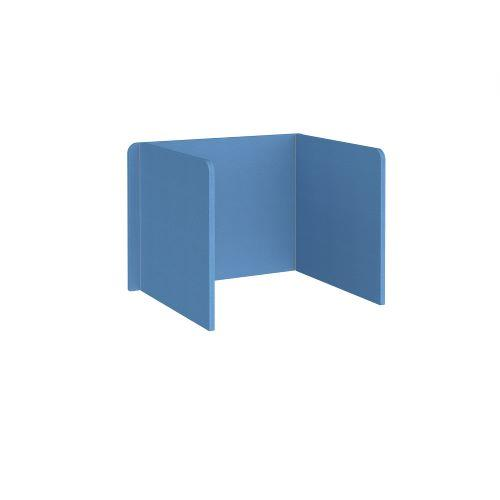 Free-standing 3-sided 700mm high fabric desktop screen 1000mm wide - inverness blue - Furniture