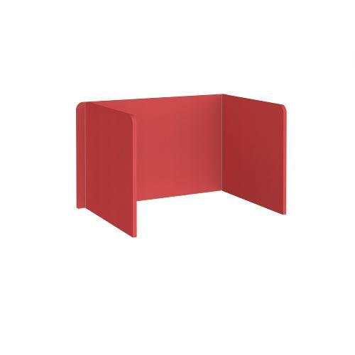 Free-standing 3-sided 700mm high fabric desktop screen 1200mm wide - pitlochry red - Furniture