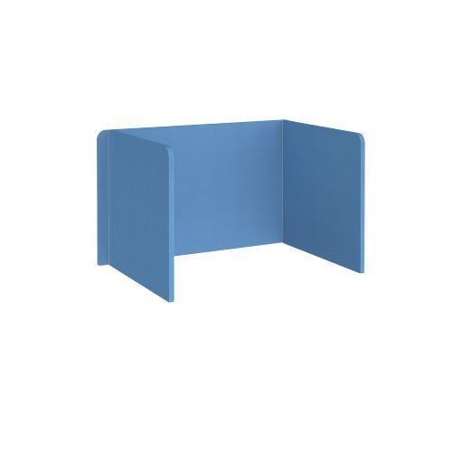 Free-standing 3-sided 700mm high fabric desktop screen 1200mm wide - inverness blue - Furniture