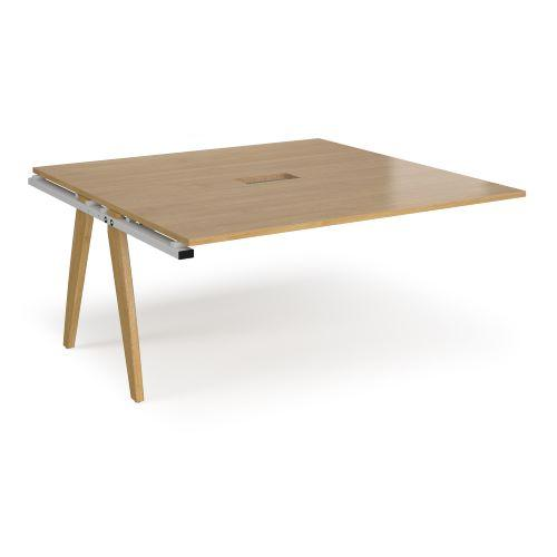 Fuze boardroom table add on unit 1600mm x 1600mm with central cutout 272mm x 132mm - white frame, oak top - Furniture