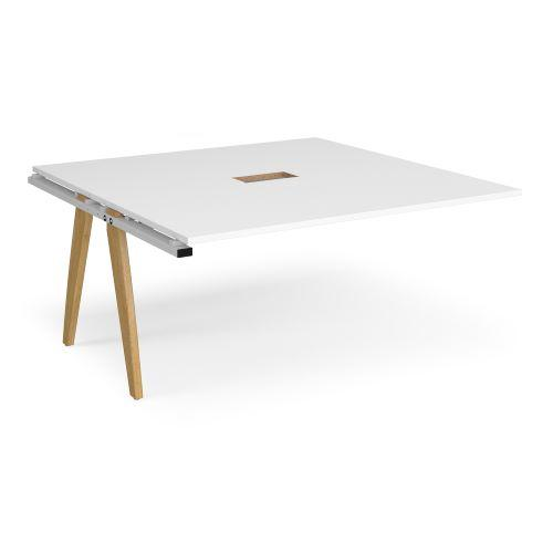 Fuze boardroom table add on unit 1600mm x 1600mm with central cutout 272mm x 132mm - white frame, white top - Furniture
