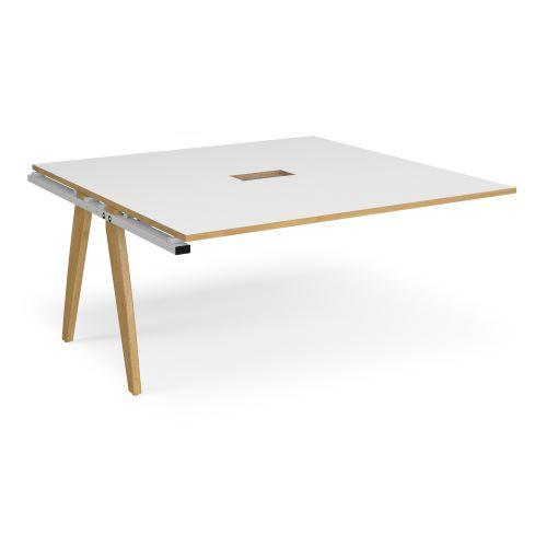 Fuze boardroom table add on unit 1600mm x 1600mm with central cutout 272mm x 132mm - white frame, white top with oak edge ...
