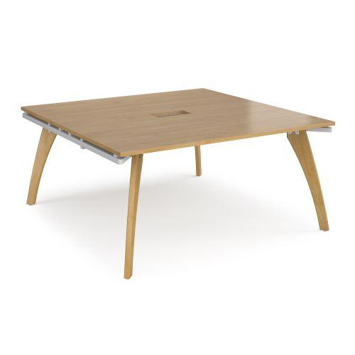 Fuze square boardroom table 1600mm x 1600mm with central cutout 272mm x 132mm - white frame, oak top - Furniture
