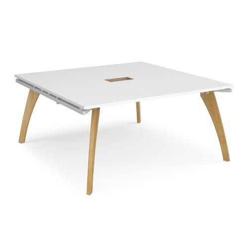 Fuze square boardroom table 1600mm x 1600mm with central cutout 272mm x 132mm - white frame, white top - Furniture