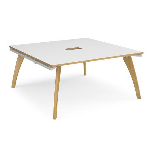 Fuze square boardroom table 1600mm x 1600mm with central cutout 272mm x 132mm - white frame, white top with oak edge - Fur...
