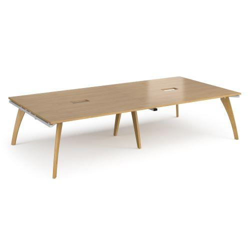 Fuze rectangular boardroom table 3200mm x 1600mm with 2 cutouts 272mm x 132mm - white frame, oak top - Furniture