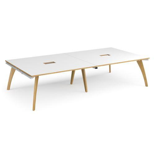 Fuze rectangular boardroom table 3200mm x 1600mm with 2 cutouts 272mm x 132mm - white frame, white top with oak edge - Fur...