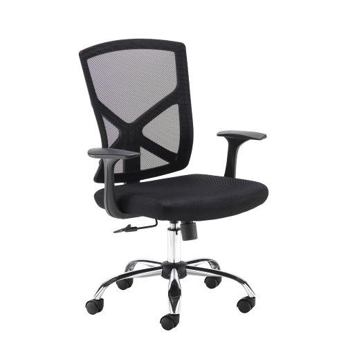 Hale black mesh back operator chair with black fabric seat and chrome base - Furniture