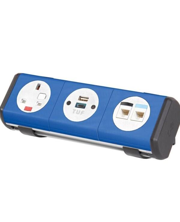 Hubble clip-on power module 1 x UK socket, 1 x TUF (A&C connectors) USB charger, 2 x RJ45 sockets - hot pink - Furniture