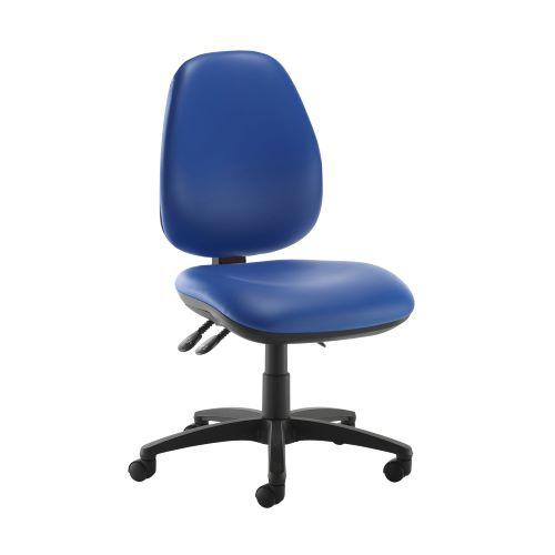 Jota high back operator chair with no arms - Ocean Blue vinyl - Furniture