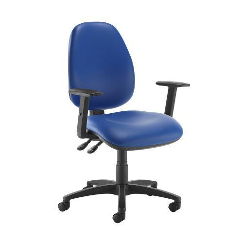 Jota high back operator chair with adjustable arms - Ocean Blue vinyl - Furniture