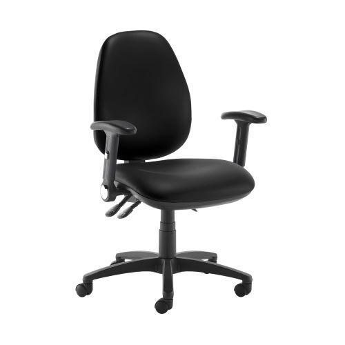 Jota high back operator chair with folding arms - Nero Black vinyl - Furniture
