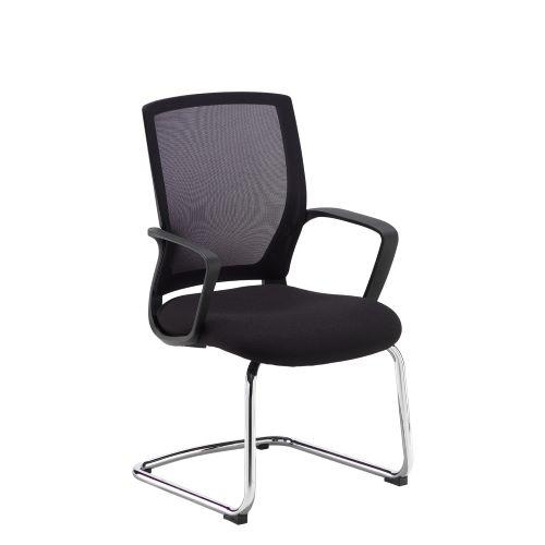 Jonas black mesh back visitors chair with black fabric seat and chrome cantilever frame - Furniture