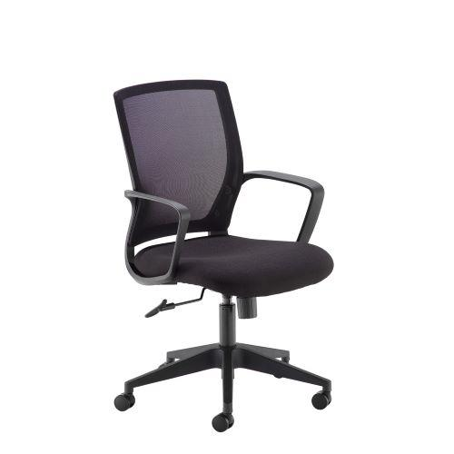 Jonas black mesh back operator chair with black fabric seat and black base - Furniture