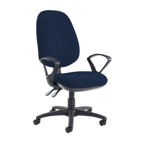Jota extra high back operator chair with fixed arms - Costa Blue - Furniture