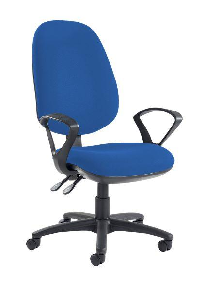 Jota extra high back operator chair with fixed arms - Scuba Blue - Furniture