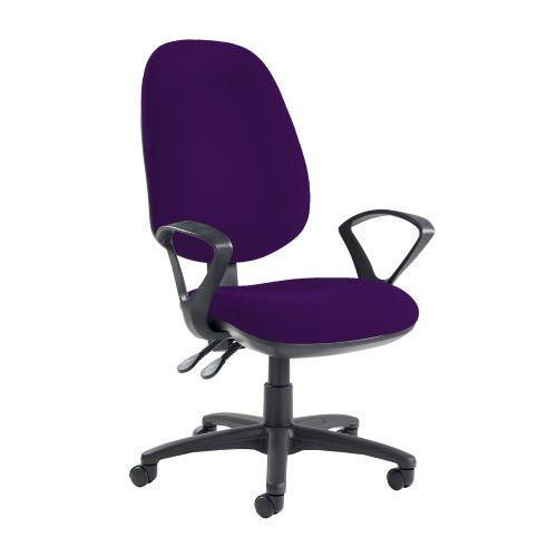 Jota extra high back operator chair with fixed arms - Tarot Purple - Furniture