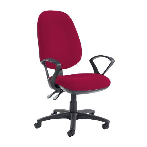 Jota extra high back operator chair with fixed arms - Diablo Pink - Furniture