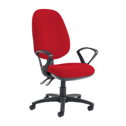 Jota extra high back operator chair with fixed arms - Belize Red - Furniture