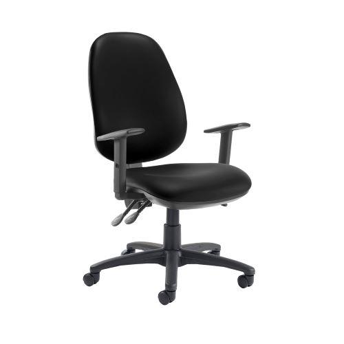Jota extra high back operator chair with adjustable arms - Nero Black vinyl - Furniture