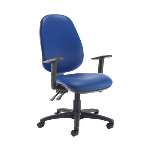 Jota extra high back operator chair with adjustable arms - Ocean Blue vinyl - Furniture