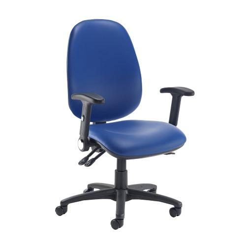Jota extra high back operator chair with folding arms - Ocean Blue vinyl - Furniture